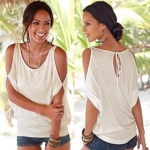 NEW White cold shoulder cut out t shirt